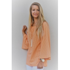 Erma's Closet Orange and White Gingham Gathered Neck Tunic